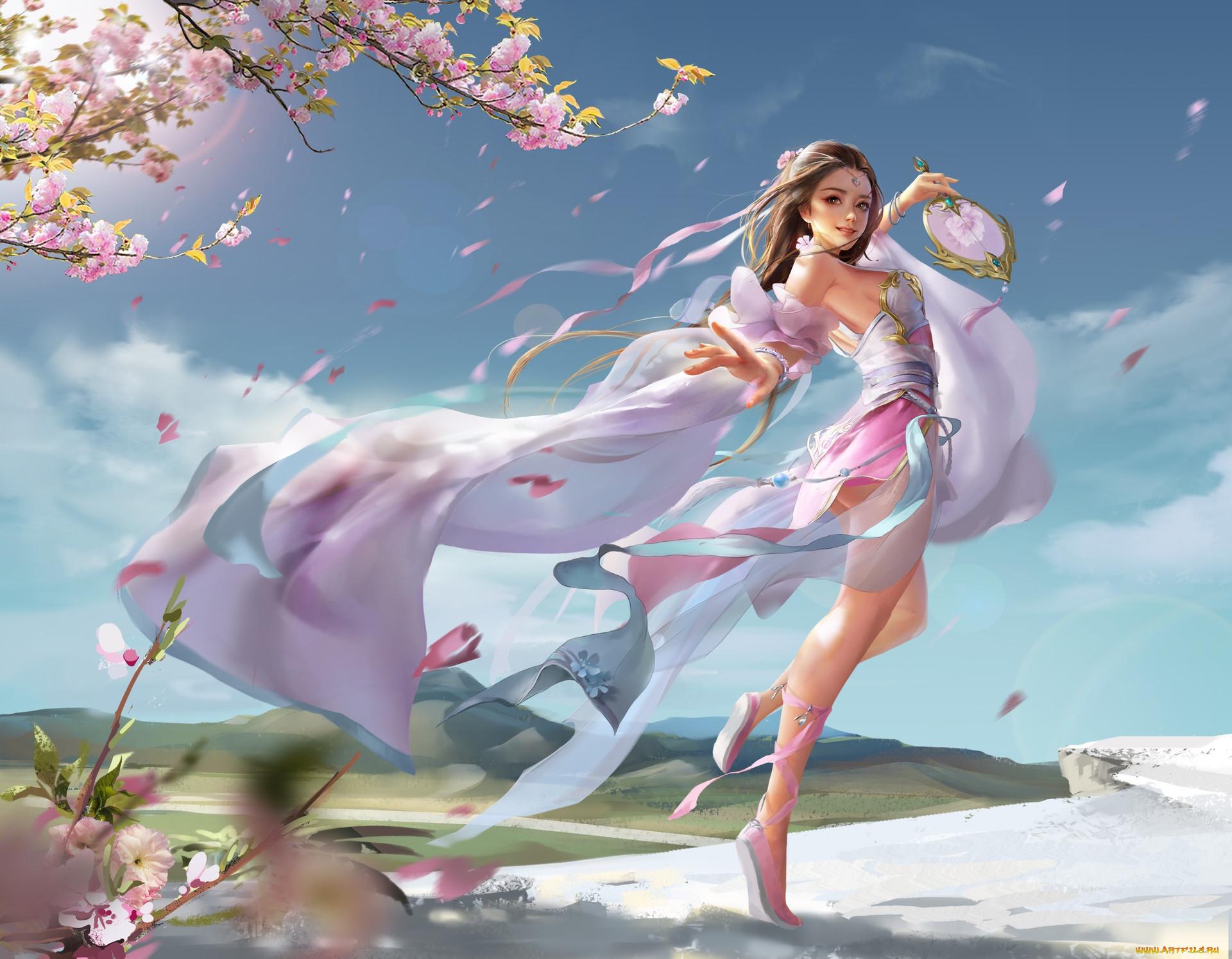 фэнтези, девушки, весна, фентези, сакура, девушка, настроение, веер